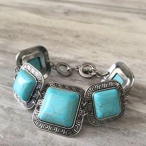 Jewelry - Imitation Turquoise Links Silver Toggle Bracelet